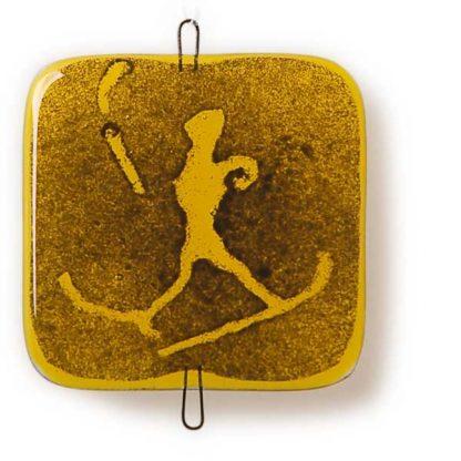 Vindusbildet, gul, Skiløper-0