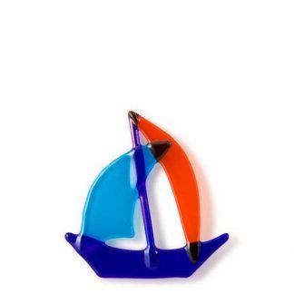 Båt, kobolt,turkis og oransje-0